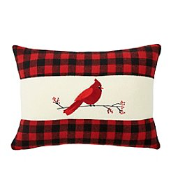 Living Quarters Plaid Trimmed Cardinal Pillow