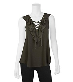 A. Byer Lace-Up Ruffle Top