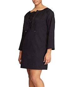 Lauren Ralph Lauren® Plus Size Cotton Twill Lace-Up Dress