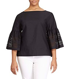 Lauren Ralph Lauren® Plus Size Laser-Cut Cotton-Blend Shirt