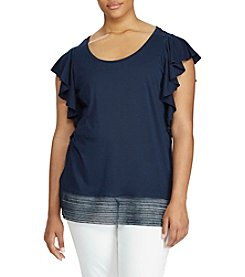Lauren Ralph Lauren® Plus Size Lace-Hem Stretch Cotton Tee