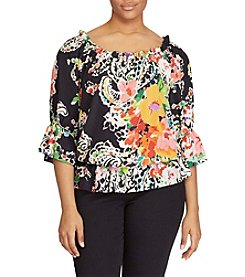 Lauren Ralph Lauren® Plus Size Paisley Crepe Off-The-Shoulder Top