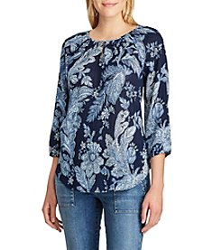 Chaps® Floral Cotton Peasant Top