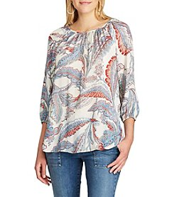 Chaps® Leaf-Print Georgette Peasant Top