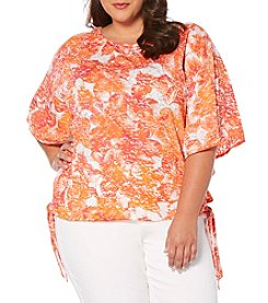 Rafaella® Plus Size Print Side Tie Knit Top