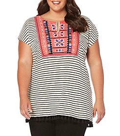 Rafaella® Plus Size Embroidered Stripe Knit Top