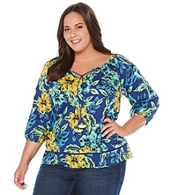 Rafaella® Plus Size Floral Print Peasnt Woven Top