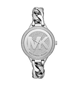 Michael Kors® Women's 38mm Silvertone Pavé Slim Runway Chain Link Watch