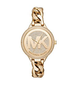 Michael Kors® Women's 38mm Goldtone Pavé Slim Runway Chain Link Watch
