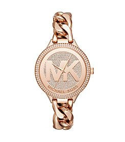 Michael Kors® Women's 38mm Rose Goldtone Pavé Slim Runway Chain Link Watch
