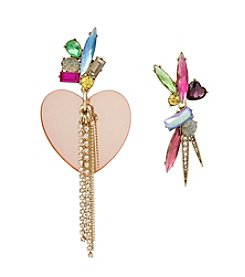 Betsey Johnson® Mismatch Heart And Stone Earrings