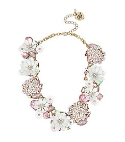 Betsey Johnson® Flower & Faceted Stone Cluster Frontal Necklace
