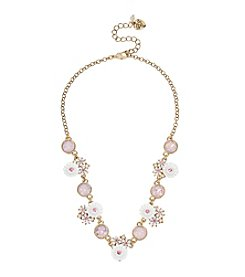 Betsey Johnson® Flower & Faceted Stone Frontal Necklace