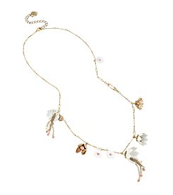 Betsey Johnson® Shaky Flower Charm Long Necklace