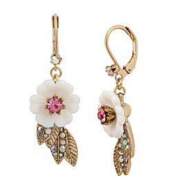Betsey Johnson® Flower And Leaf Drop Earrings