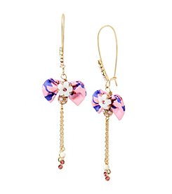 Betsey Johnson® Flower And Bow Drop Earrings
