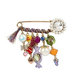 Betsey Johnson® Multi-Stone And Ribbon Charm Brooch