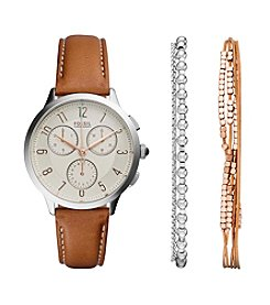 Fossil® Women's Abilene Chronograph Watch with Tan Leather Strap and Bracelet Set