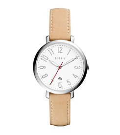 Fossil® Women's 36mm Jacqueline Three Hand and Date Watch with Leather Strap