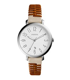Fossil® Jacqueline Whipstitched Leather Strap Watch