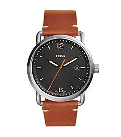Fossil® Men's 42mm Black Dial Commuter Watch With Tan Leather Strap