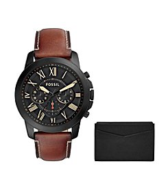 Fossil® Men's 44mm Grant Chronograph Watch And Card Case Box Set