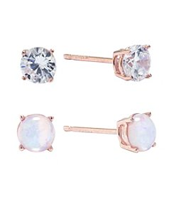Athra Cubic Zirconia Round Stud Earrings Set