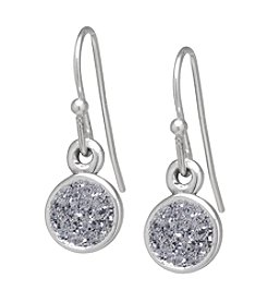 Athra Round Glitter Drop Earrings