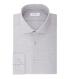 Calvin Klein Men's Steel Non Iron Stretch Slim Fit Spread Collar Printed Dress Shirt