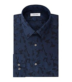 Calvin Klein Men's Steel Non Iron Stretch Slim Fit Point Collar Camo Dress Shirt
