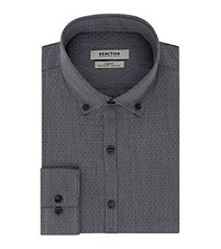 REACTION Kenneth Cole Men's Classic Slim Fit Pepper Dot Dress Shirt