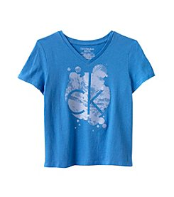 Calvin Klein Girls' 7-16 Liquid Logo Tee
