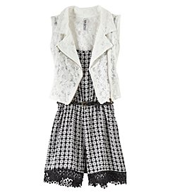 Beautees Girls' 7-16 2 Piece Romper With Vest Set