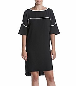 Calvin Klein Flutter Sleeve Dress With Piping
