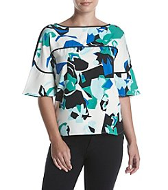 Calvin Klein Ruffle Blouse With Piping