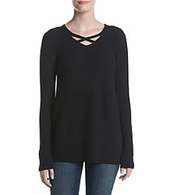 Relativity® Lattice V-Neck Sweater