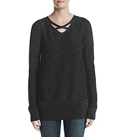 Relativity® Shine Lattice V-neck Sweater