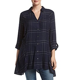 Relativity® Plus Size Plaid Utility Sharkbite Tunic