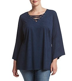 Relativity® Plus Size Lace Up Bell Sleeve Top