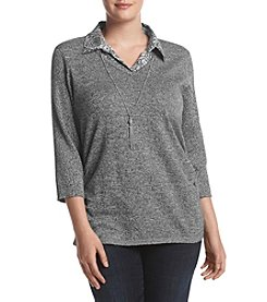 Studio Works® Plus Size Marled Layered Look Sweater