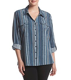 Studio Works® Plus Size Stiped Print Y Neck Top