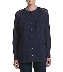 Ruff Hewn Textured Lace Shirt With Cutout Back
