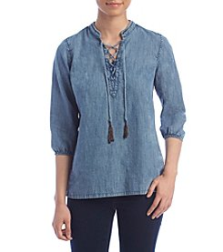 Ruff Hewn Petites' Lace Up Denim Top