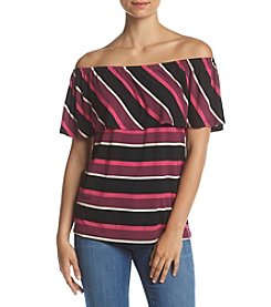 Kensie® Stripe Off Shoulder Top