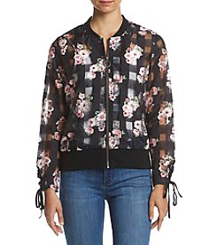 Love & Combat™ Floral Bomber Lace-Up Trim Jacket