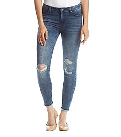 Celebrity Pink Angelo Fray Hem Destructed Ankle Skinny Jeans