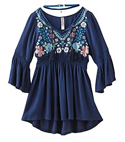 Beautees Girls 7-16 Bell Sleeve Smocked Tunic