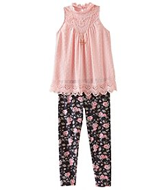 Beautees Girls 7-16 2 Piece Tunic And Floral Leggings Set