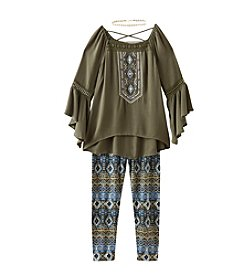 Beautees Girls' 7-16 3-Piece Embellished Peasant Top And Leggings Set