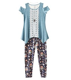 Beautees Girls 7-16 3-Piece Cold Shoulder Top And Leggings Set